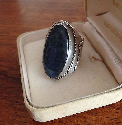 Vintage Embossed Silver Ring with Clear Blue Cabochon..size R