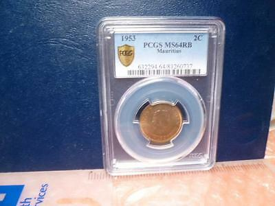 1953 Pcgs-Ms64Rb Mauritius 2 Cents Coin