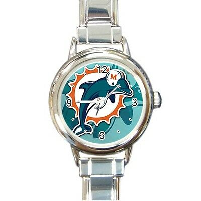 Miami Dolphins Stainless Steel Italian Charm Watch Gift Idea