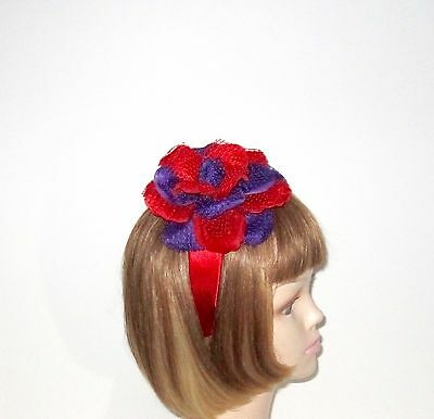 Red Satin Headband Red Purple Lace Flower For Red Hat Ladies Of Society