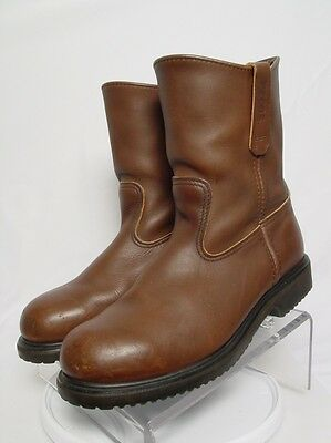 USA RED WING PECOS 8242 Men 10-3E Brown Leather Steel Toe Motorcycle Work Boots