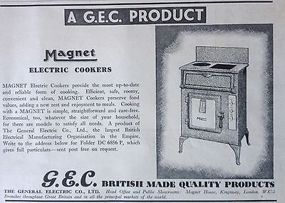 Vintage Uk 1934 Ad(Uk4)~General Electric Co. Magnet Electric Cookers. London