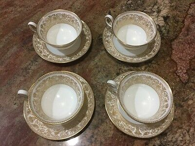 Wedgwood Beautiful Gold Florentine Set Of 4 Cups and Saucers Dragons