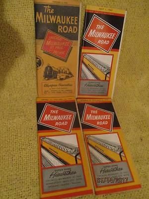 4 Milwaukee St Paul & Pacific Railway Train Lines Timetable Schedule 1960-1970
