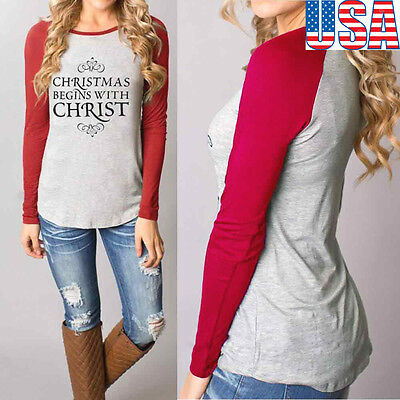 Fashion Women Loose Long Sleeve Tops Blouse Shirt Cotton Round CHRISTMAS usps L