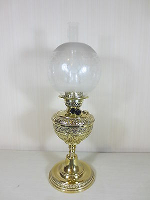 Superbly Detailed  Brass Duplex Table Oil Lamp Complete With Original  Shade