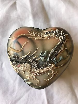 Antique Japanese Moriage Heart Shaped Trinket Box With Raised Dragon