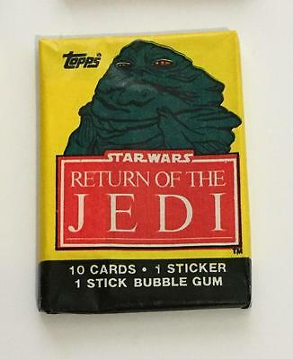 Star Wars Return Of Jedi S1 Vintage Trading Card Wax Pack 1983 Topps Jabba Hutt