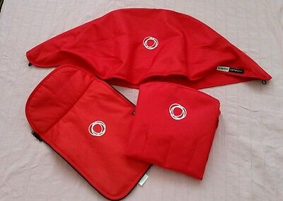 Bugaboo cameleon red canvas fabric set,  hood, apron and seat cover.