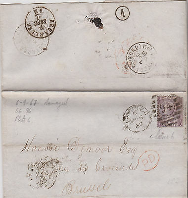 1867 QV LONDON IRON WORKS LETTER WITH SG96 6d LILAC STAMP USED IN BRUSSELS
