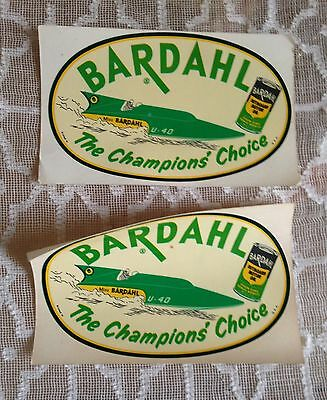 2 Vintage Bardahl Oil Decal Stickers - Advertising, Hydroplane