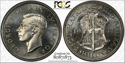 1947 Proof South Africa 2 Shillings PCGS PR65