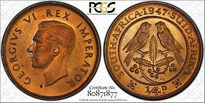 1947 Proof South Africa Farthing PCGS PR64RD