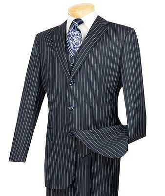 Men's Navy Blue Pinstripe 3 Piece 3 Button Classic-Fit Suit NEW w/ Matching Vest