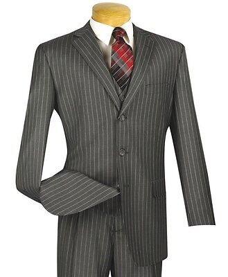 Men's Gray Pinstripe 3 Piece 3 Button Classic-Fit Suit NEW w/ Matching Vest