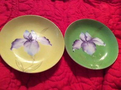 Set Of 2 VINTAGE BUTTER PAT Plates Saji Occupied Japan Hand painted