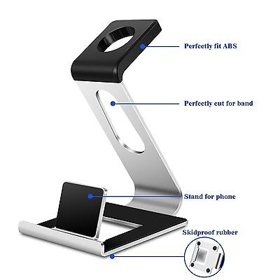 Aluminum Apple IWatch Iphone 6 6S 7 Stand Charging Dock Station Holder Silver