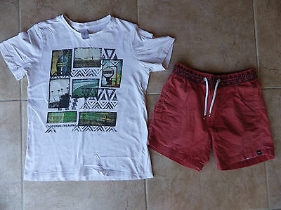 Boys size 8 cool QUIKSILVER shorts & surf T shirt