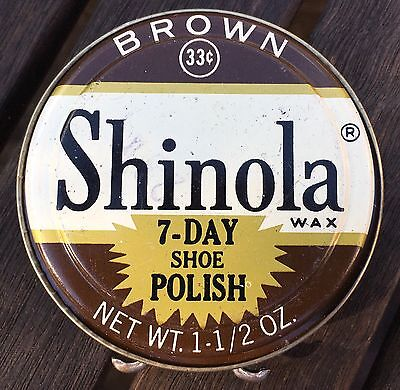 Vintage Shinola Wax Brown 7-Day Shoe Boot Polish Tin USA 33 cents