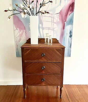 Antique Timber Chest Of Drawers Oak Bedside Side Table French Chic Vintage Draws