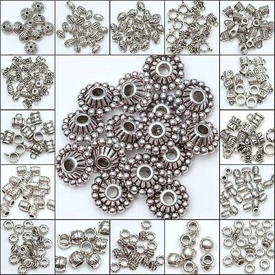 50/100pcs Wholesale  Silver Plated Loose Spacer Beads Charms Jewelry Making DIY