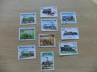 10 X World Stamps - Locomotives / Trains - Caribbean / Hungary / Togo / Benin