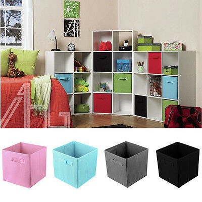 4X Foldable Square Storage Collapsible Folding Box Clothes Organizer Fabric Cube