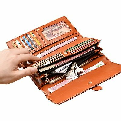 Fashion Womens Genuine Leather Purse Wallet Zip Trifold Phone Card Handbag Brown