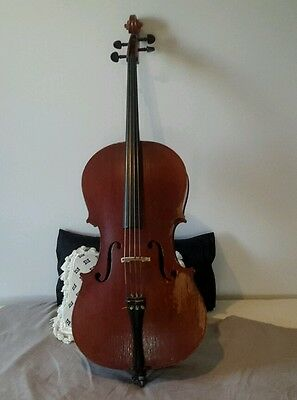cello, 3/4 size, antique european , new srings, bow and soft case, plays well