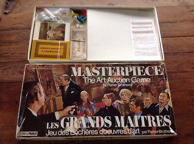 MASTERPIECE THE ART AUCTION GAME by Parker Board Games Retro Complete