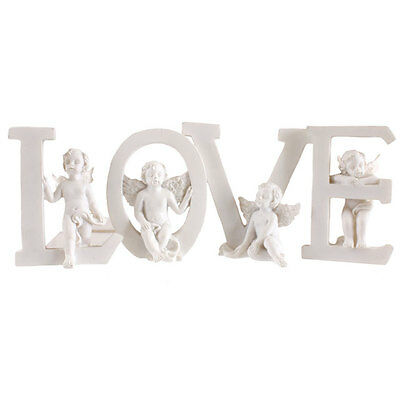 Set of Four Letters White Resin Cherubs Sitting on Letters LOVE Angel Ornament