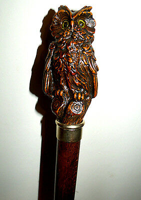 Wooden Carved Walking Stick Cane, Owl Knob Handle, Brass Ring, Solid Wood Stick