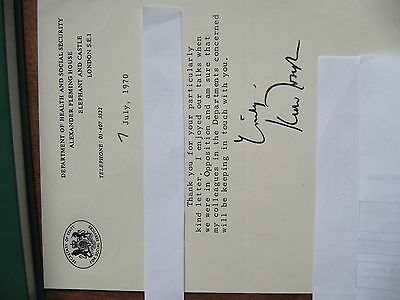 Letter signed by Keith Joseph  as Secretary of State for Social Services