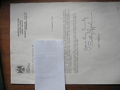 Letter signed by Sally Oppenheim as Minister of State for Consumer Affairs