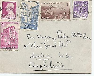 Monaco 1941 Cover With Five Various Stamps To London Ref 534