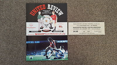 MANCHESTER UNITED v BOLTON WANDERERS 1991 FA CUP 4th ROUND PROGRAMME &TICKET