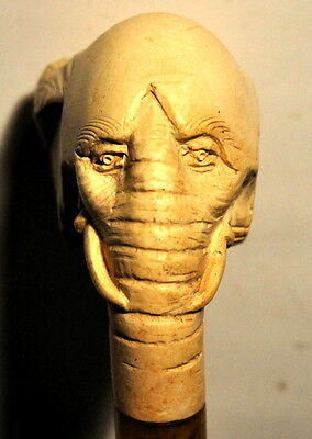 Unusual Good Condition & Colour Carved Meerschaum Bent Elephant Headed Pipe..