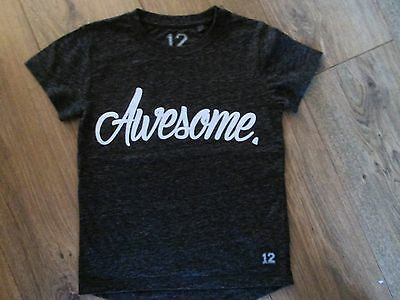 """NEXT Boys Grey t-shirt, """"Awesome"""" on front, Age 5-6 years, BNWOT"""