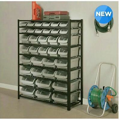 """Whalen Storage Bin Rack With 8 Shelves And 36 Assorted Size Bins 57"""" (145cm)"""