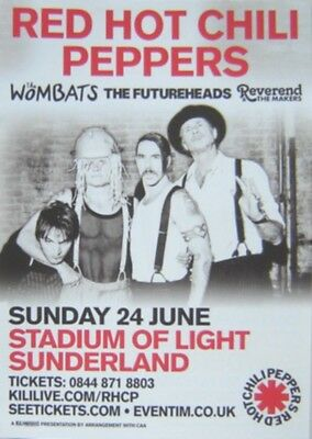 RED HOT CHILI PEPPERS : Sunderland Stadium 2012 -CONCERT FLYER- MINT