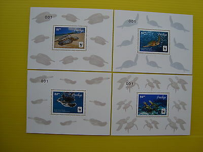 Wwf Penrhyn 2014, Pacific Green Turtle, 4 Deluxe Sheets, Perforated, Mnh