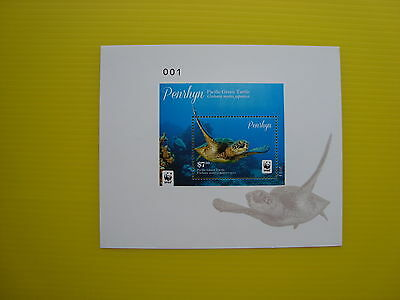 Wwf Penrhyn 2014, Pacific Green Turtle, Deluxe Souvenirsheet, Perforated, Mnh