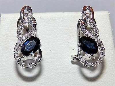 9Ct White Gold 1.0Ct Sapphire 0.15Ct Diamond Cluster Huggie Earrings