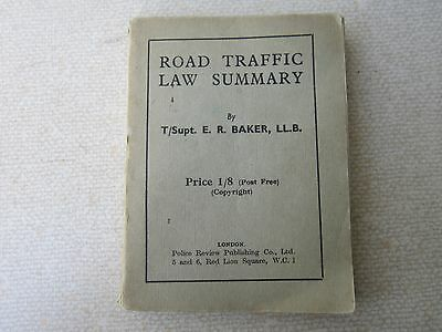 ROAD TRAFFIC LAW SUMMARY 1947 Edition - 208pp - OLD POLICEMAN'S BOOK -