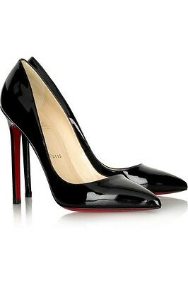 Christian Louboutin Pigalle 120 Patent Black Heels Shoes Courts Uk 5.5 Eu 38.5