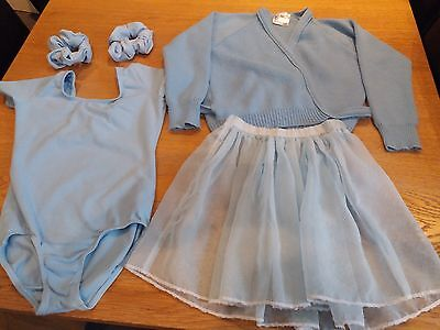 "Baby Blue Dance Tap Ballet Leotard Size 2, Tutu, Cardigan 30"" and Scrunchies"