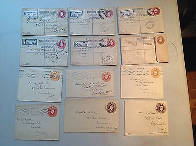 G.B. EARLY POSTAL STATIONERY / REGISTERED LETTERS ETC x 12..........#405