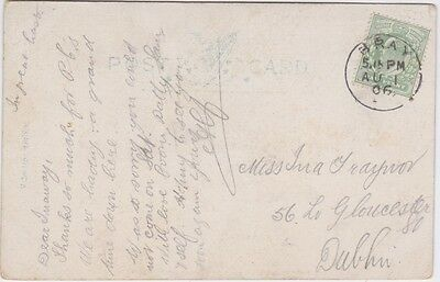 Ireland-1906 KEVII 1/2d green on Bray postcard cover to Dublin