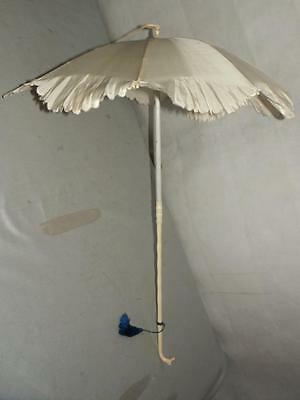 Antique Bovine Bone Greyhound Head Silk Parasol/Umbrella