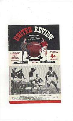 Manchester United v Sheffield Wednesday FA Cup 1961/62 Football Programme
